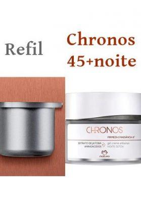 7-(3)Chronos (refil) 45+Noite Detox  Firmeza e radiancia  Extrato de jatobá aminoácidos   Reduz rugas e estimula a produção de colágeno  FPS30  40g  ¥5400